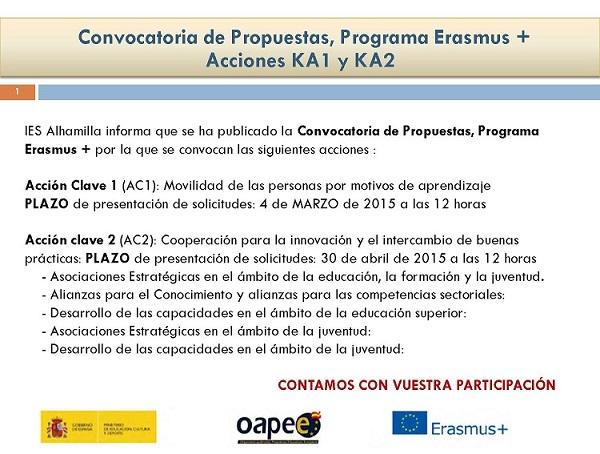 Erasmus + ACCIONES KA1 y KA2
